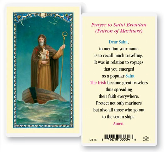 St. Brendan Laminated Prayer Cards 25 Pack - Full Color
