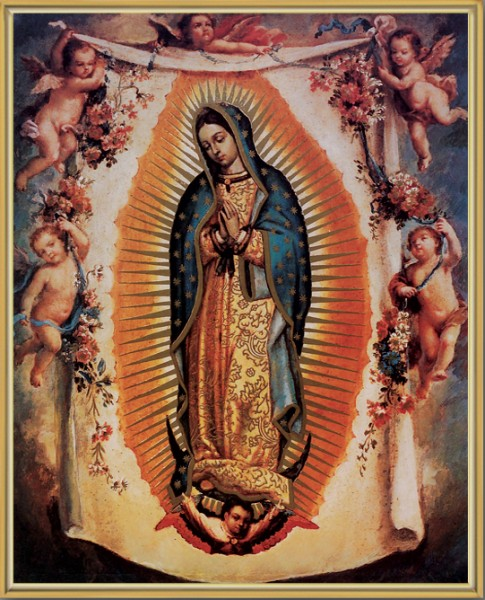 Our Lady of Guadalupe with Angels Gold Framed Print - Full Color
