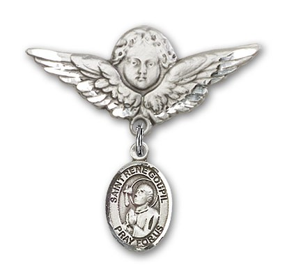 Pin Badge with St. Rene Goupil Charm and Angel with Larger Wings Badge Pin - Silver tone