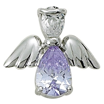 Angel Pin- June Birthstone - Silver