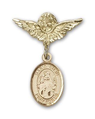 Pin Badge with Maria Stein Charm and Angel with Smaller Wings Badge Pin - 14K Solid Gold