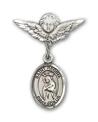 Pin Badge with St. Regina Charm and Angel with Smaller Wings Badge Pin - Silver tone