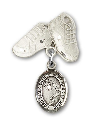 Baby Badge with Footprints Cross Charm and Baby Boots Pin - Silver tone