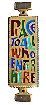Peace to All Who Enter Here Wall Plaque - 4.25 inches - Multi-Color
