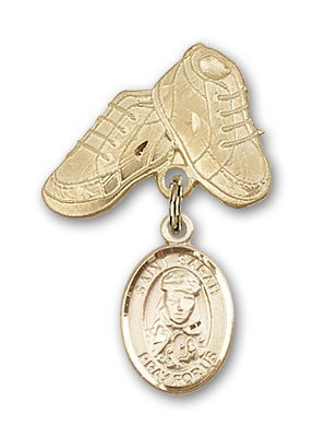 Pin Badge with St. Sarah Charm and Baby Boots Pin - 14K Yellow Gold