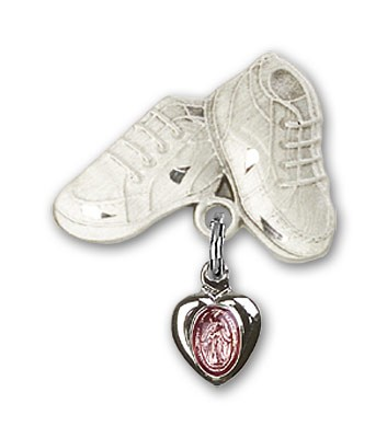 Baby Pin with Pink Miraculous Charm and Baby Boots Pin - Silver | Pink