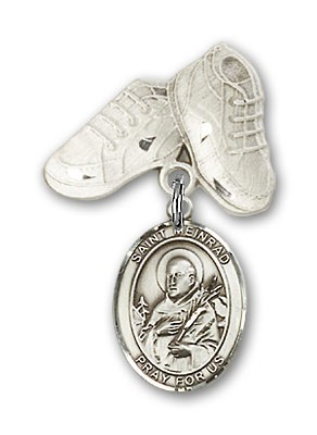 Pin Badge with St. Meinrad of Einsideln Charm and Baby Boots Pin - Silver tone