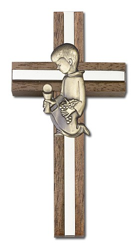 First Communion Boy Wall Cross in Walnut and Metal Inlay 4 inch - Two-Tone Silver