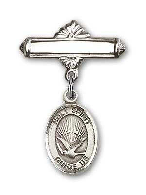 Pin Badge with Holy Spirit Charm and Polished Engravable Badge Pin - Silver tone