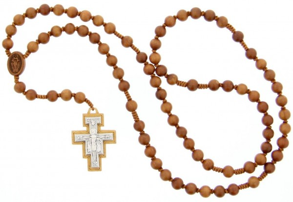Franciscan Crown 7 Decade Wood Rosary - 8mm - Brown