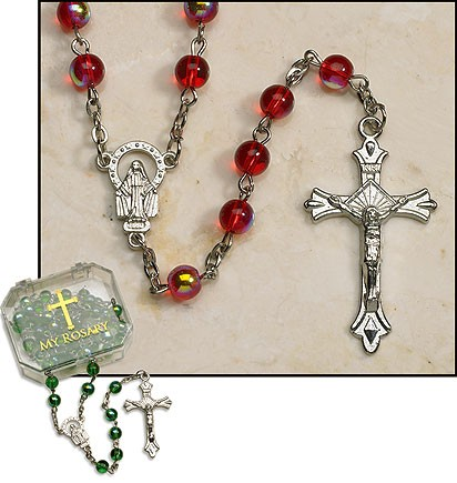 Ruby Rosary - 4 per order - Ruby Red