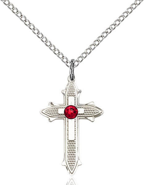 Polished and Textured Cross Pendant with Birthstone Options - Ruby Red