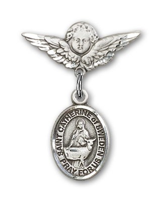 Pin Badge with St. Catherine of Sweden Charm and Angel with Smaller Wings Badge Pin - Silver tone