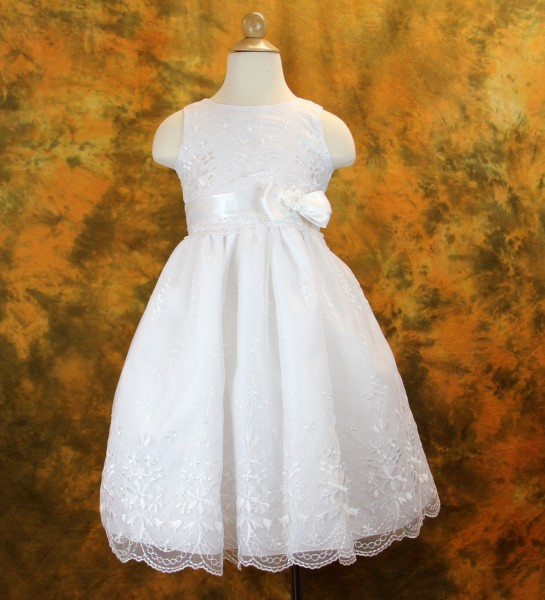 First Communion Dress - Embroidered Organza and Bow Accent - White