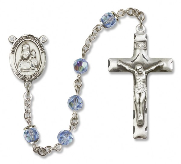 Our Lady of Loretto Rosary Heirloom Squared Crucifix - Light Sapphire