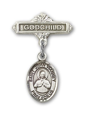Pin Badge with St. John Vianney Charm and Godchild Badge Pin - Silver tone