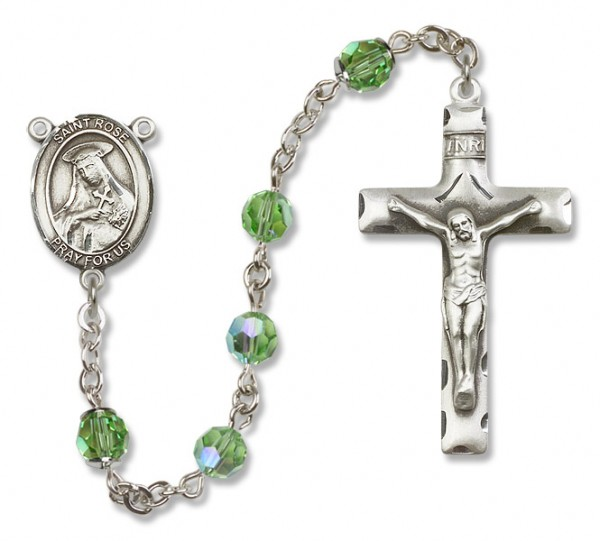 St. Rose of Lima Sterling Silver Heirloom Rosary Squared Crucifix - Peridot