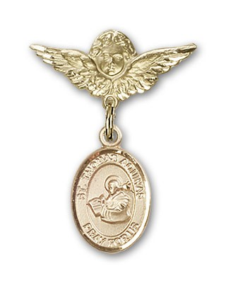 Pin Badge with St. Thomas Aquinas Charm and Angel with Smaller Wings Badge Pin - 14K Yellow Gold