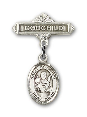Pin Badge with St. Raymond Nonnatus Charm and Godchild Badge Pin - Silver tone