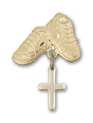 Baby Pin with Cross Charm and Baby Boots Pin - Gold Tone