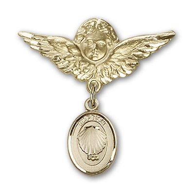 Baby Pin with Baptism Charm and Angel with Larger Wings Badge Pin - Gold Tone