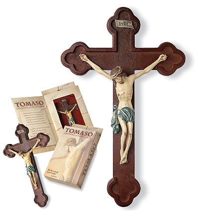 Tomaso Budded Crucifix - 10 inch - Brown