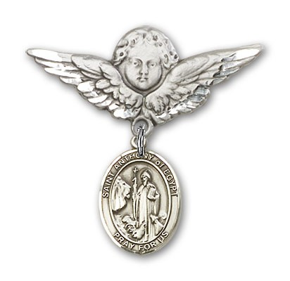 Pin Badge with St. Anthony of Egypt Charm and Angel with Larger Wings Badge Pin - Silver tone