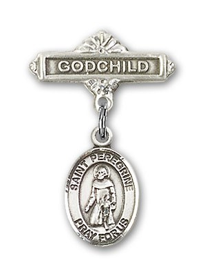 Pin Badge with St. Peregrine Laziosi Charm and Godchild Badge Pin - Silver tone