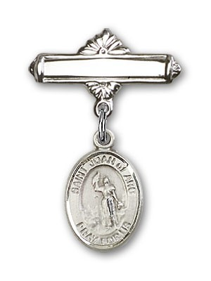 Pin Badge with St. Joan of Arc Charm and Polished Engravable Badge Pin - Silver tone