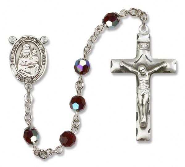 Our Lady of Prompt Succor Rosary Heirloom Squared Crucifix - Garnet
