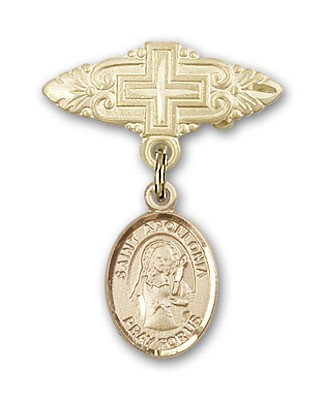 Pin Badge with St. Apollonia Charm and Badge Pin with Cross - 14K Solid Gold