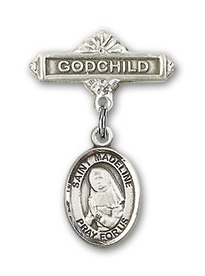 Pin Badge with St. Madeline Sophie Barat Charm and Godchild Badge Pin - Silver tone