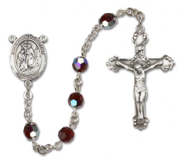 St. John the Baptist Sterling Silver Heirloom Rosary Fancy Crucifix - Garnet