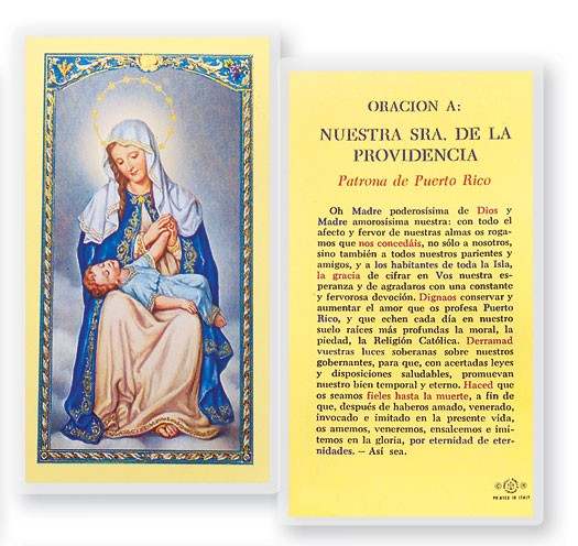 Oracion A Nuestra Senora  De La Providencia Laminated Spanish Prayer Cards 25 Pack - Full Color