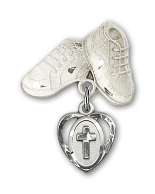 Baby Badge with Cross Charm and Baby Boots Pin - Silver tone