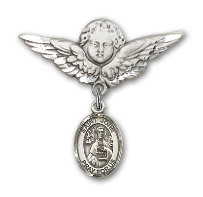 Pin Badge with St. John the Apostle Charm and Angel with Larger Wings Badge Pin - Silver tone