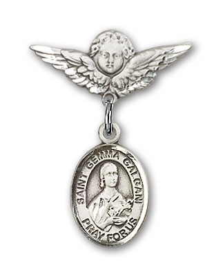Pin Badge with St. Gemma Galgani Charm and Angel with Smaller Wings Badge Pin - Silver tone
