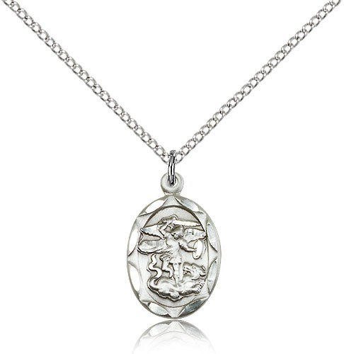 Oval St. Michael Medal - Sterling Silver