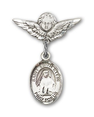 Pin Badge with St. Edith Stein Charm and Angel with Smaller Wings Badge Pin - Silver tone
