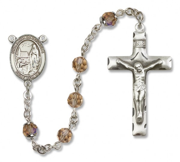 Our Lady of Lourdes Sterling Silver Heirloom Rosary Squared Crucifix - Topaz