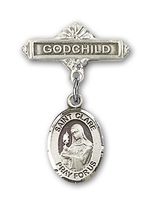 Pin Badge with St. Clare of Assisi Charm and Godchild Badge Pin - Silver tone