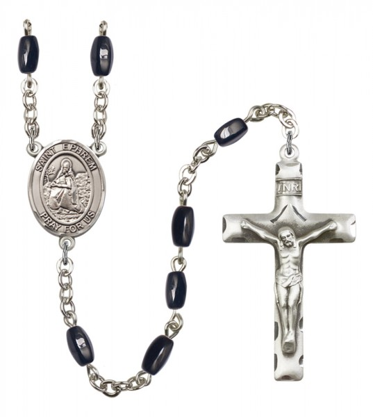 Men's St. Ephrem Silver Plated Rosary - Black | Silver