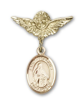 Pin Badge with St. Veronica Charm and Angel with Smaller Wings Badge Pin - Gold Tone