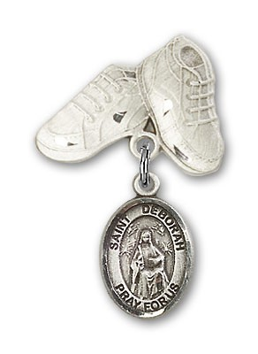 Pin Badge with St. Deborah Charm and Baby Boots Pin - Silver tone