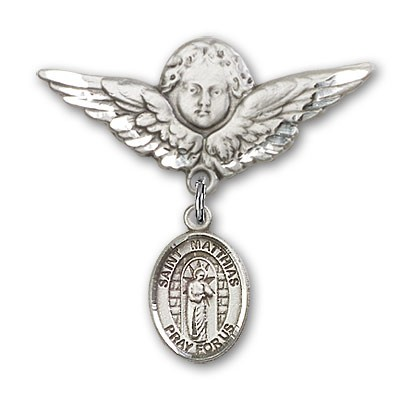 Pin Badge with St. Matthias the Apostle Charm and Angel with Larger Wings Badge Pin - Silver tone
