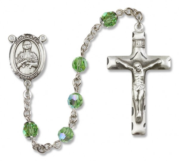 St. Kateri Sterling Silver Heirloom Rosary Squared Crucifix - Peridot