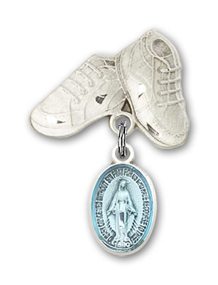 Baby Pin with Miraculous Charm and Baby Boots Pin - Silver | Blue
