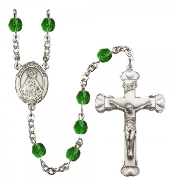 Women's Our Lady of Olives Birthstone Rosary - Emerald Green