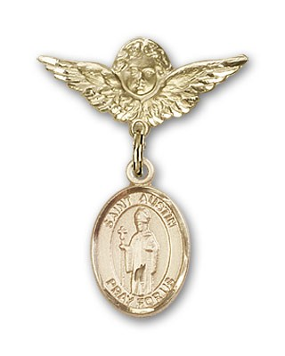 Pin Badge with St. Austin Charm and Angel with Smaller Wings Badge Pin - 14K Yellow Gold