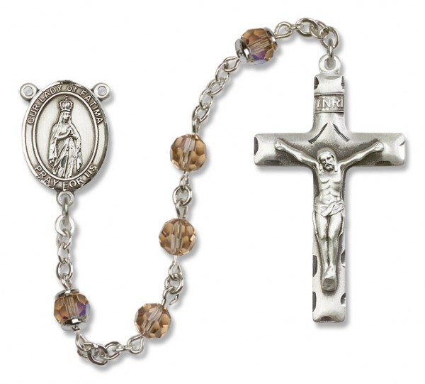 Our Lady of Fatima Sterling Silver Heirloom Rosary Squared Crucifix - Topaz